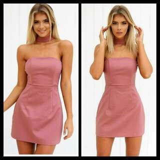 Dusty Pink Choker Fitted Dress