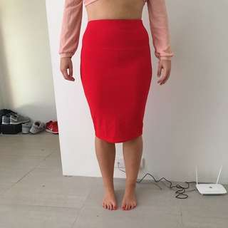 Red Work Skirt Size 12
