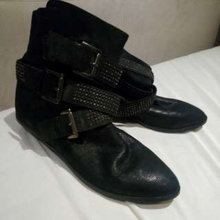 Zara Leather Ankle Boots Size 9/40