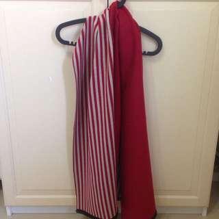 條紋雙色兩用保暖圍巾