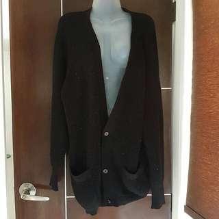 Black Oversized Knitted Cardigan