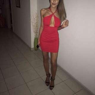 Halter Neck Red Dress