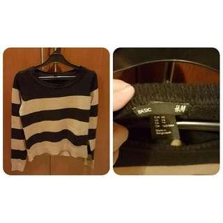 Sweater H&M Garis Hitam Garis Coklat Krem
