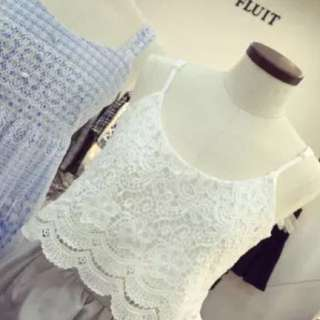 White Lace Spag Top