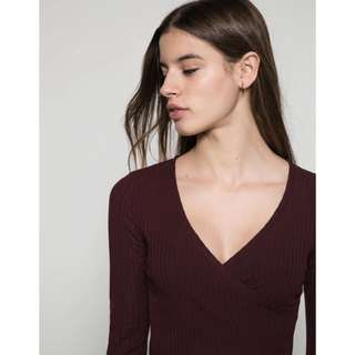 Bershka Front Wrap Ribbed Top In Maroon