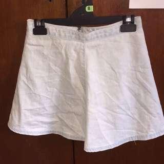 Washed Out Blue Denim High Waist Skirt