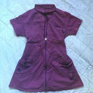 Purple Zip-up Long Top
