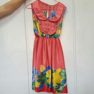 Red printed dress - preloved