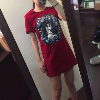 紅菱格紋洋裝