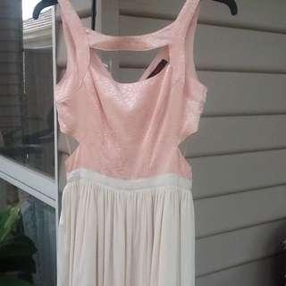 KUKU Size 8 Pale pink/cream Cut Out Dress.