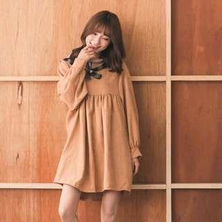 全新👗領巾高腰洋裝