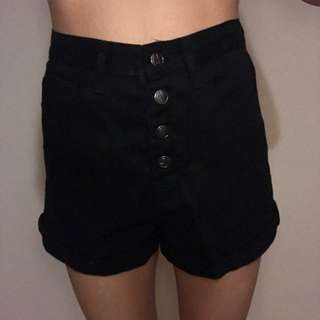 Black Button Up Shorts