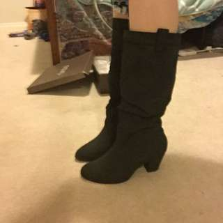 Black Boots Knee High Suede