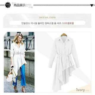 Long-side White Polo Dress