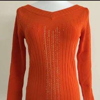 亮橘亮片針織上衣#好秋服飾