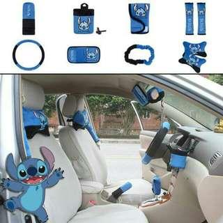 *現貨* 史迪奇  (藍色) 車套十件組汽車內飾內裝汽車用品 置物桶排檔套手煞車套安全帶套方向盤套後視鏡套頸頭枕遮陽板