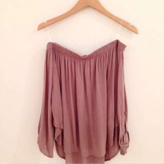 Taupe Off Shoulder Blouse (RESERVED)