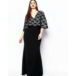 Plus Size Maxi Cape Dress