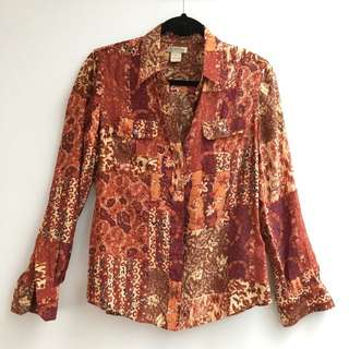 Lucky Brand Silk Hippie Shirt