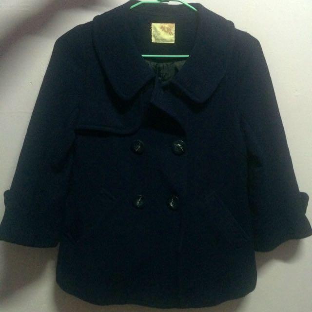 藍色毛料短板外套