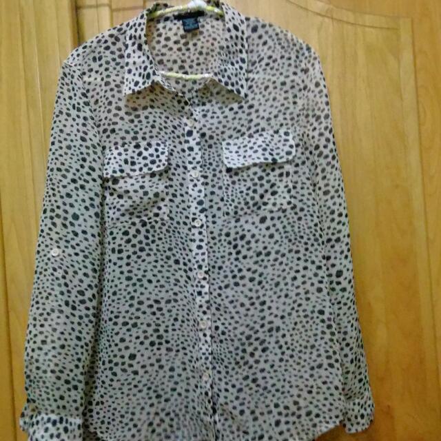 薄紗質感豹紋襯衫