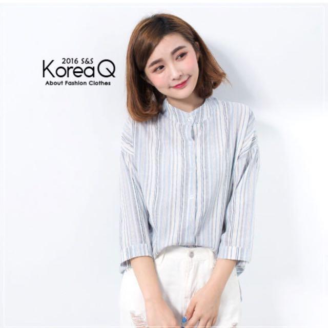 <轉賣> Korea Q 清新藍灰條紋棉麻襯衫