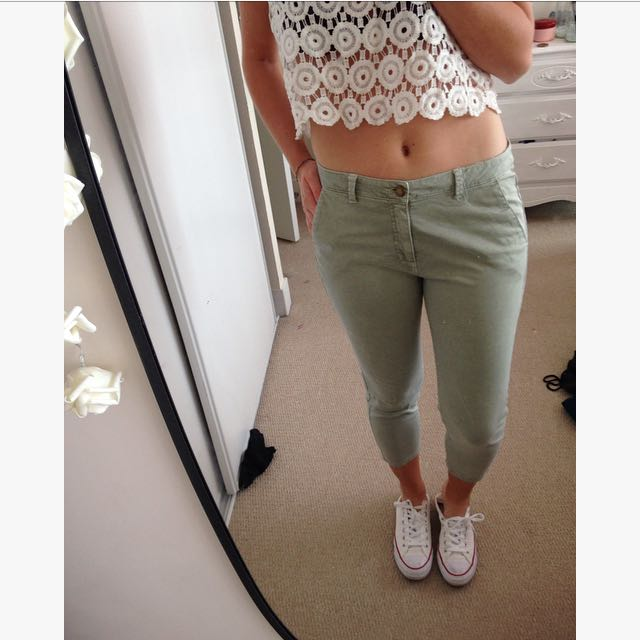 Ankle Pastel Green Pants