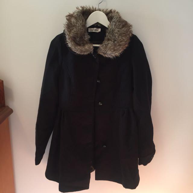 Black Coat With Fur Hood
