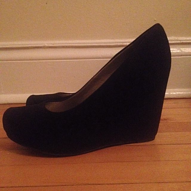 Black Suede Wedges - size 8.5