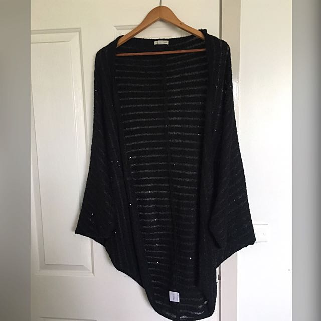 Black Wool Cardigan - XL