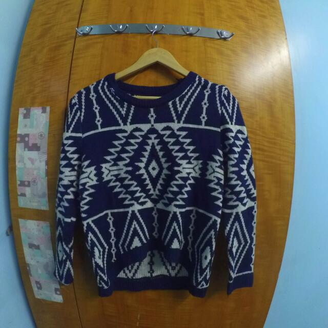 Blue Aztec Sweater / Longsleeves