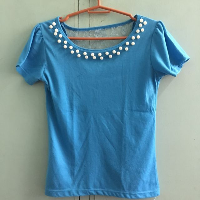 Blue Pearled Blouse