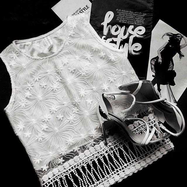 Boho handmade lace blouse