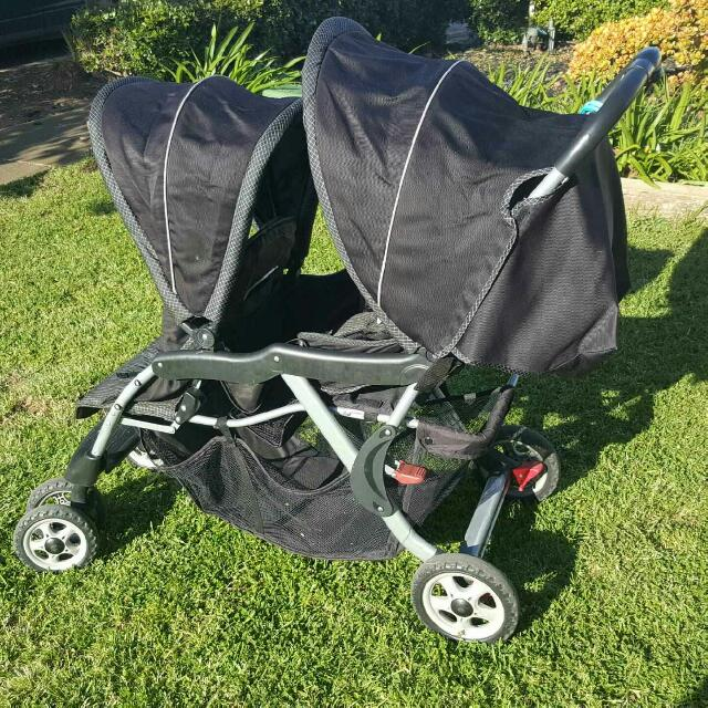 Childcare double pram.