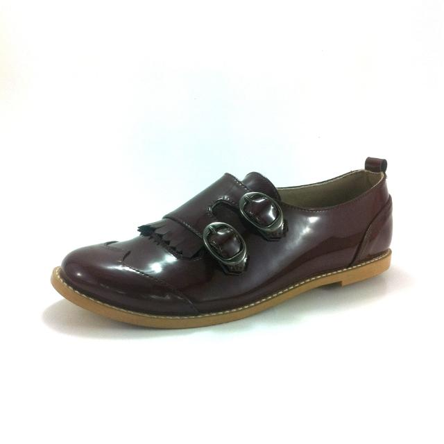 Maroon Oxfords Flats Shoes Double Monkstraps
