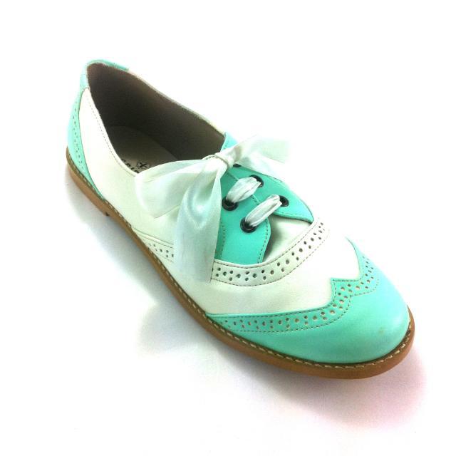 Oxford Mint Flats Shoes