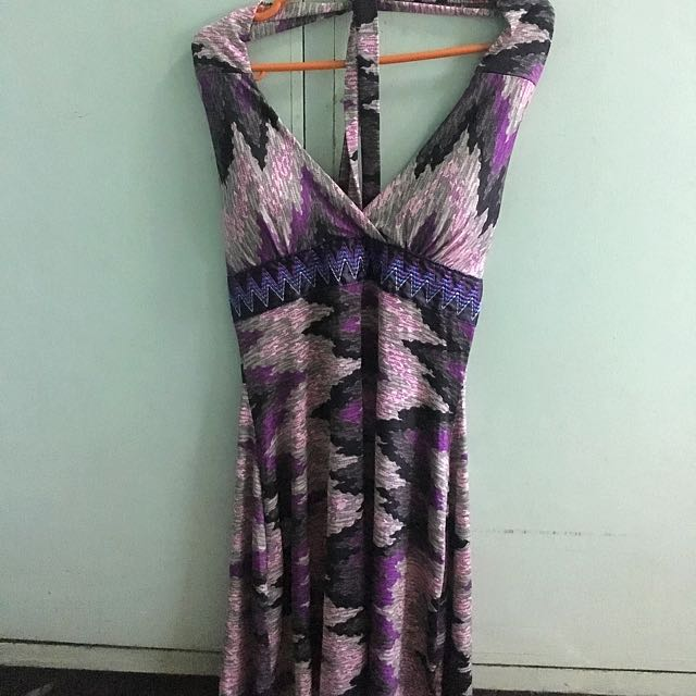 Purple Backless Night Dress