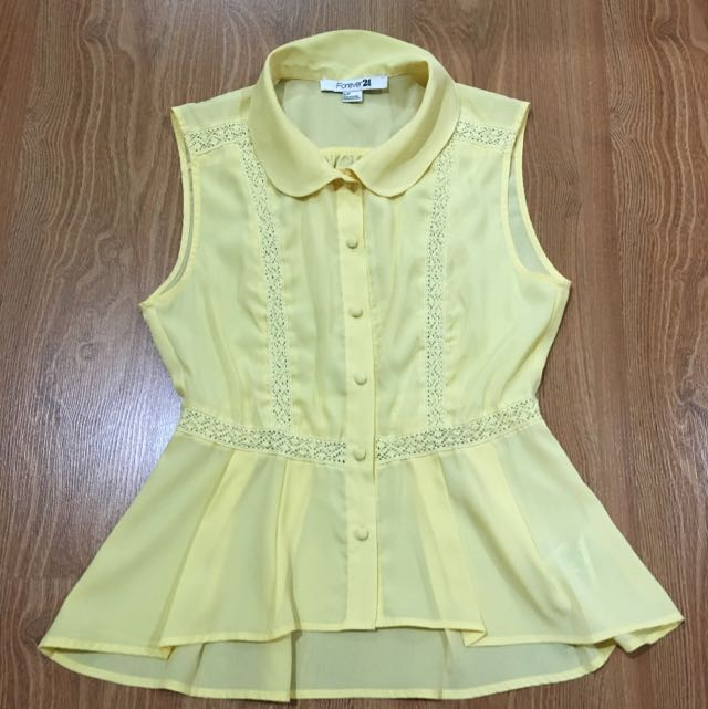Romantic Forever 21 Yellow Top
