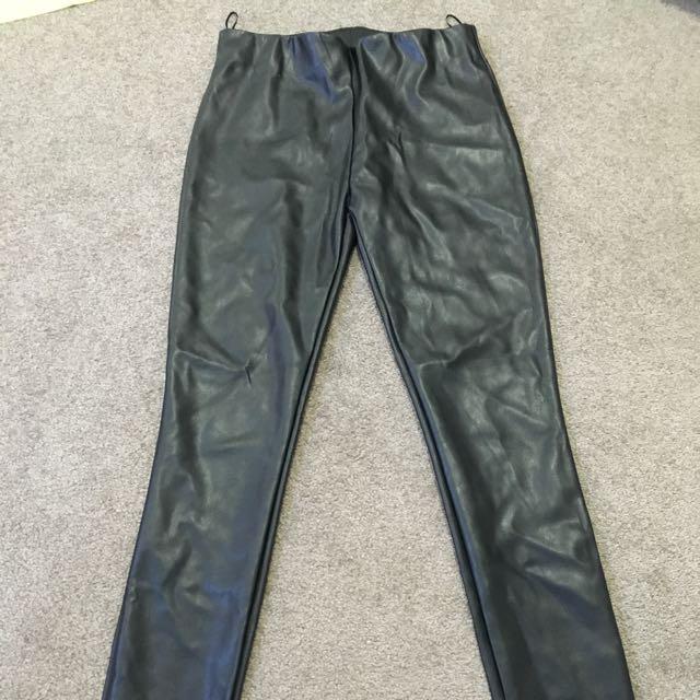 Sportsgirl Black Wet Look Pants