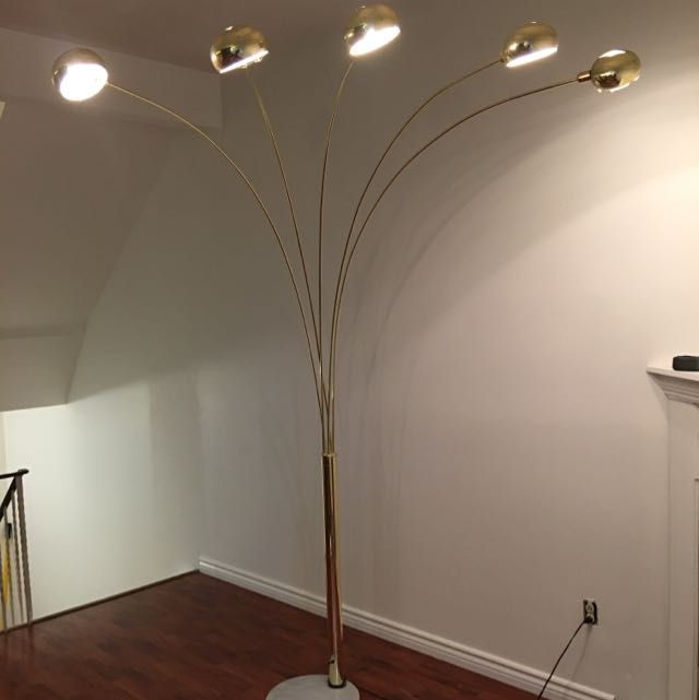 "87"" - Tall 5 Arm Gold Floor Lamp With Marble Base"