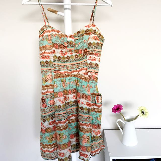 [TEMT] Floral Orange/turquoise Dress