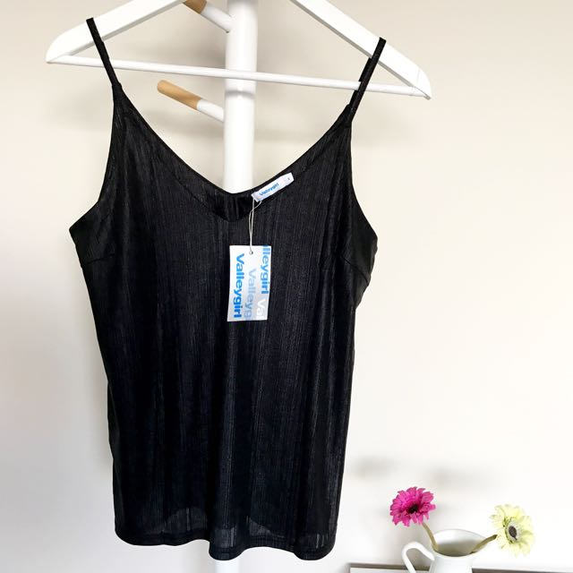 [VALLEYGIRL] Black Metallic Camisole
