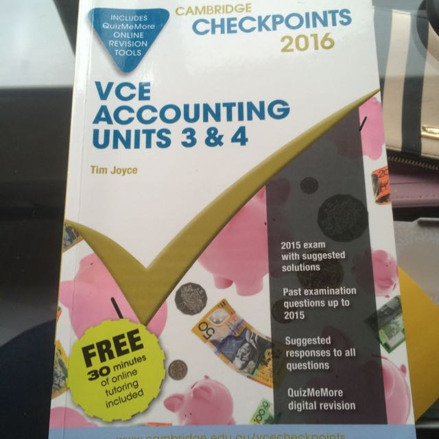 VCE Accounting 3&4 2016 Checkpoints