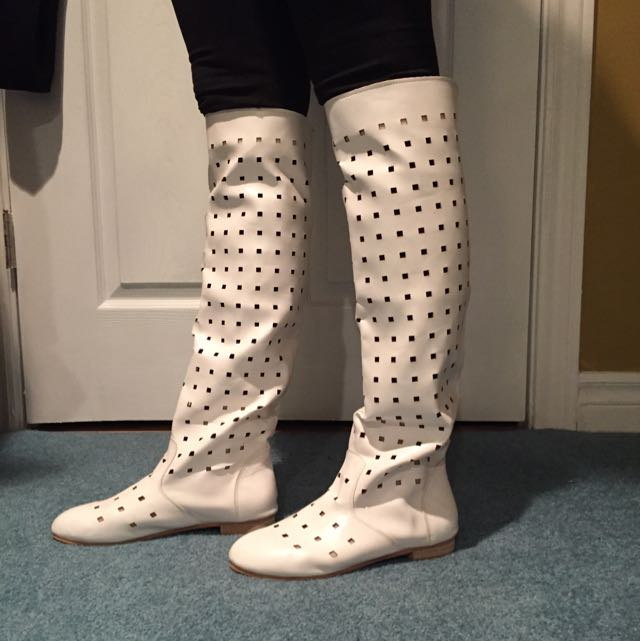 White Faux Leather Boots