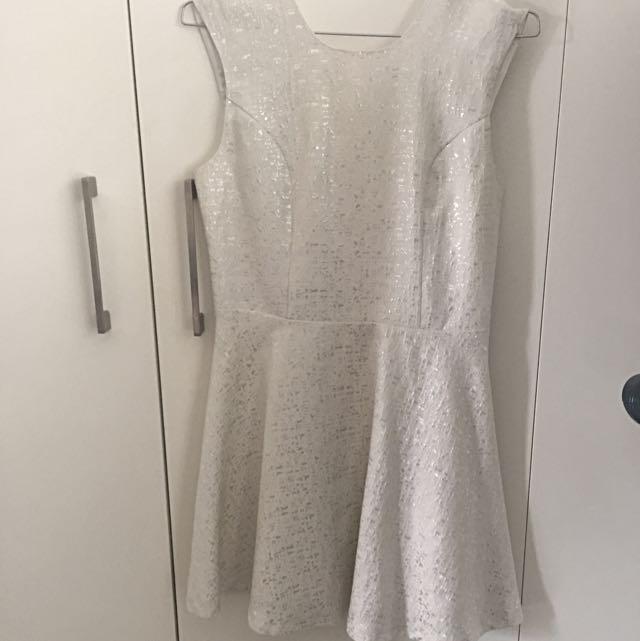 White/Silver Skater Dress