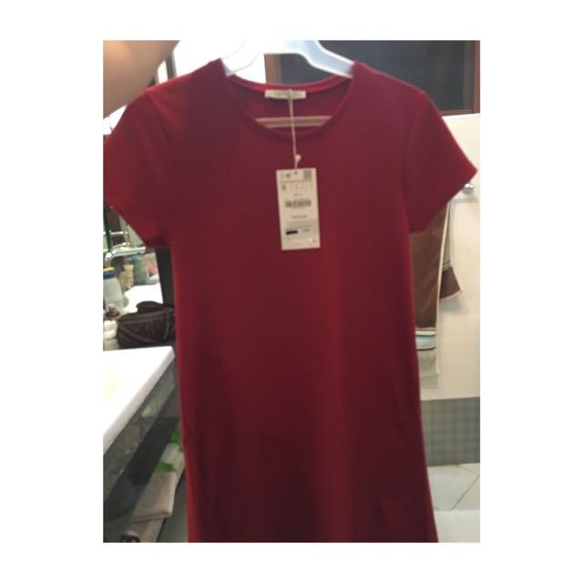 Zara Red T Shirt Dress