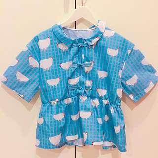 超多母雞繽紛雙線條荷葉邊花邊童趣短版上衣