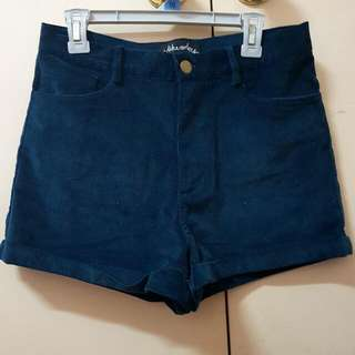 Navy Suede Shorts