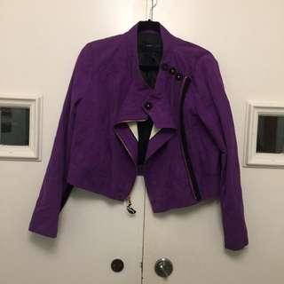 Purple Linen Bcbg Biker Jacket