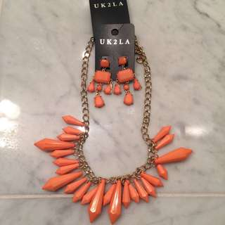 Coral Necklace & Matching Earrings